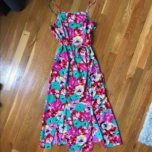 flowered midi dress with high neck